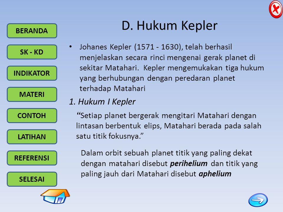 BERANDA SK - KD INDIKATOR MATERI CONTOH LATIHAN REFERENSI SELESAI D. Hukum Kepler Johanes Kepler (1571 - 1630), telah berhasil menjelaskan secara rinc