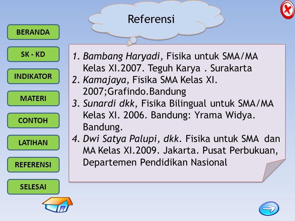 BERANDA SK - KD INDIKATOR MATERI CONTOH LATIHAN REFERENSI SELESAI 1.Bambang Haryadi, Fisika untuk SMA/MA Kelas XI.2007. Teguh Karya. Surakarta 2.Kamaj