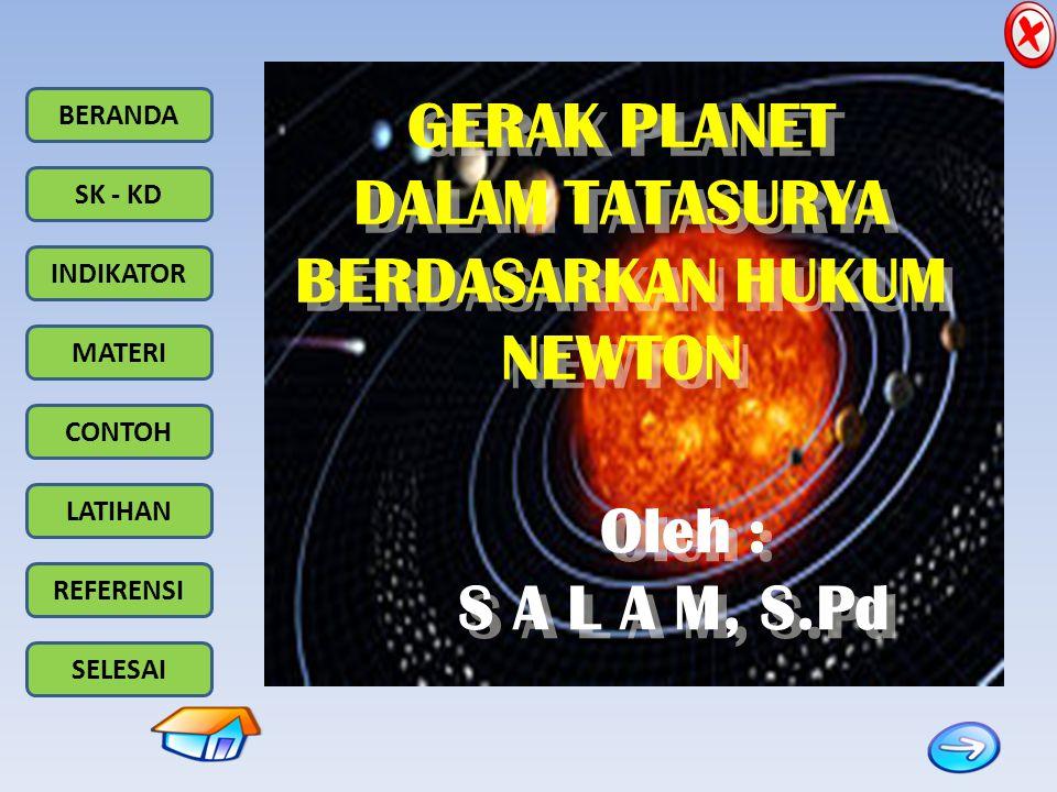 BERANDA SK - KD INDIKATOR MATERI CONTOH LATIHAN REFERENSI SELESAI Matahari titik perihelium planet P F1F1 F2F2 titik aphelium 2.