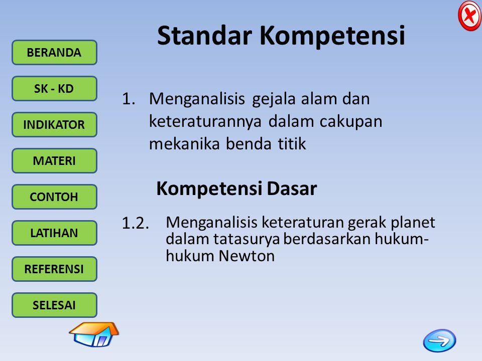 BERANDA SK - KD INDIKATOR MATERI CONTOH LATIHAN REFERENSI SELESAI Standar Kompetensi 1.Menganalisis gejala alam dan keteraturannya dalam cakupan mekan