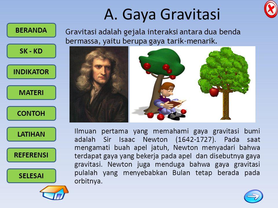BERANDA SK - KD INDIKATOR MATERI CONTOH LATIHAN REFERENSI SELESAI A. Gaya Gravitasi Gravitasi adalah gejala interaksi antara dua benda bermassa, yaitu