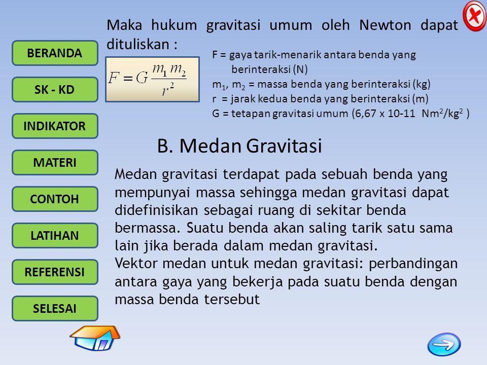 BERANDA SK - KD INDIKATOR MATERI CONTOH LATIHAN REFERENSI SELESAI Maka hukum gravitasi umum oleh Newton dapat dituliskan : F = gaya tarik-menarik anta