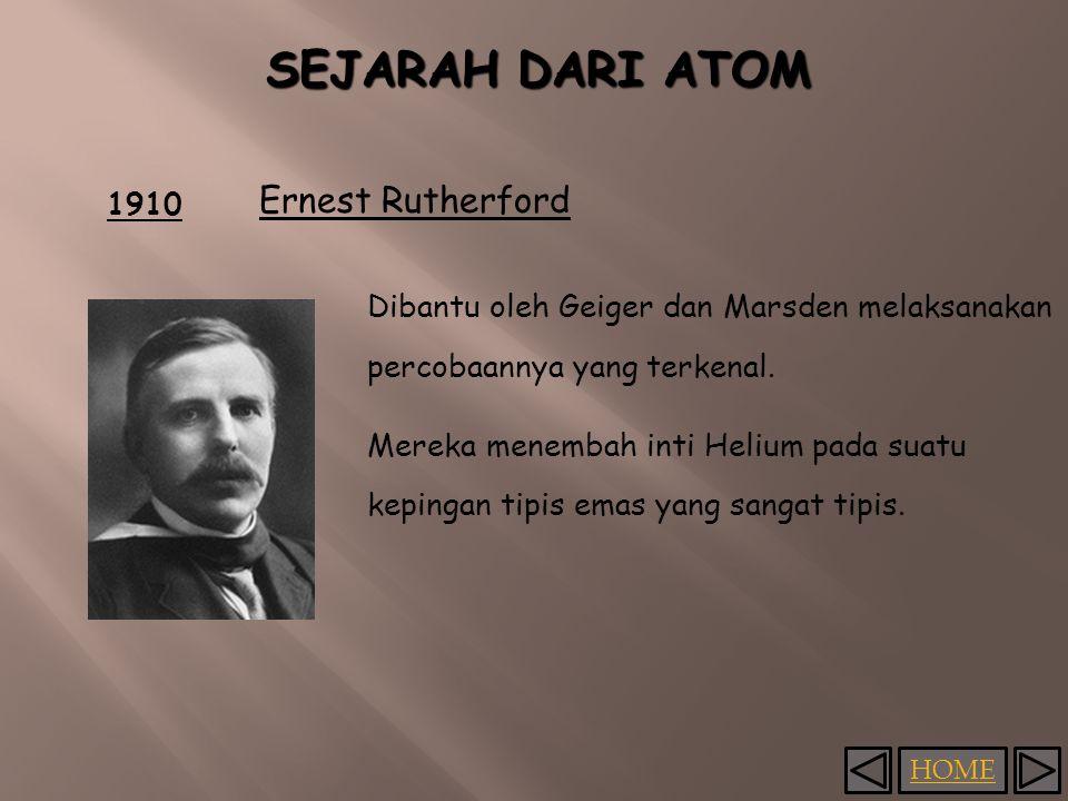 HOME 1910 Ernest Rutherford Dibantu oleh Geiger dan Marsden melaksanakan percobaannya yang terkenal.