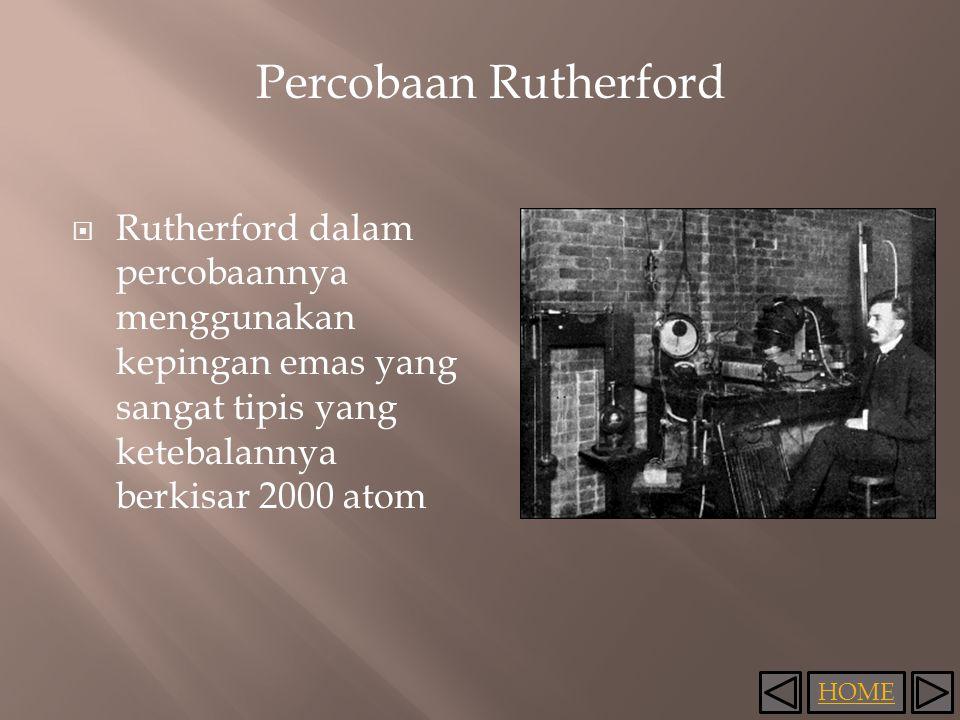 HOME Percobaan Rutherford  Rutherford dalam percobaannya menggunakan kepingan emas yang sangat tipis yang ketebalannya berkisar 2000 atom
