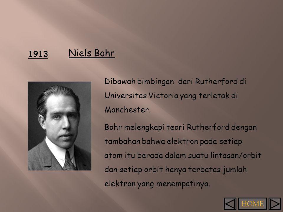 HOME 1913 Niels Bohr Dibawah bimbingan dari Rutherford di Universitas Victoria yang terletak di Manchester.