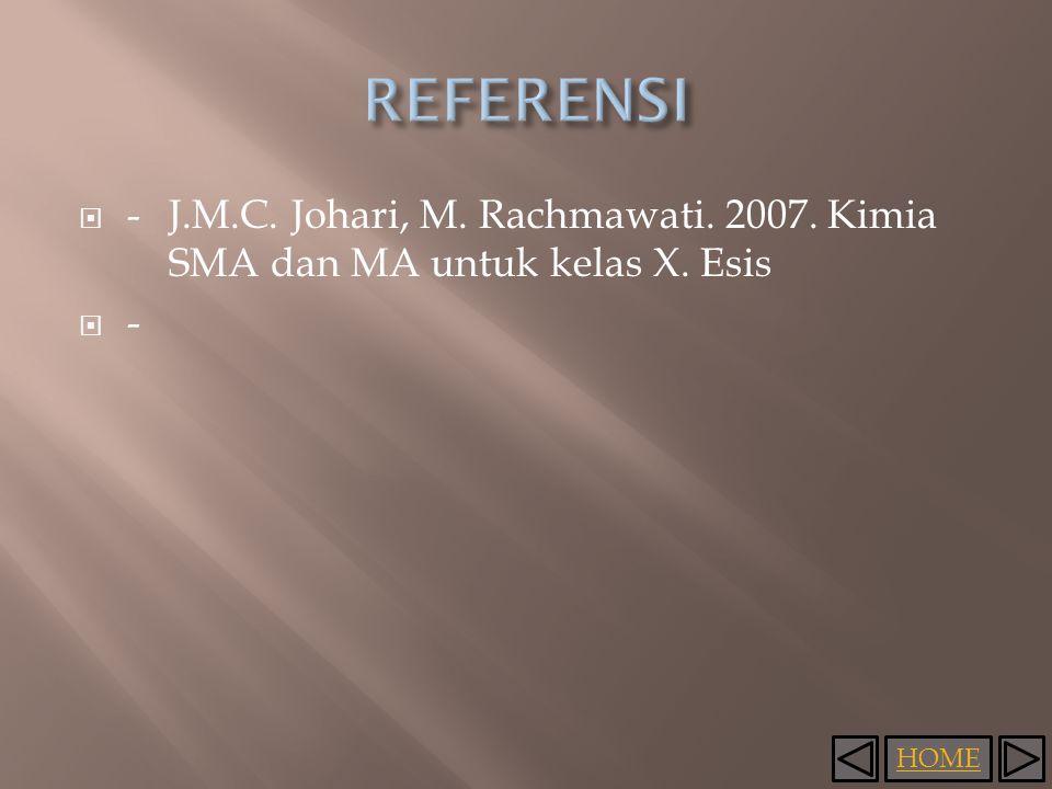 HOME  -J.M.C. Johari, M. Rachmawati. 2007. Kimia SMA dan MA untuk kelas X. Esis  -