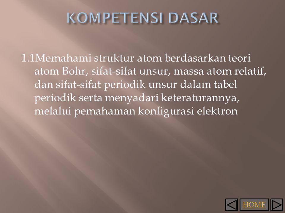 HOME 1.1Memahami struktur atom berdasarkan teori atom Bohr, sifat-sifat unsur, massa atom relatif, dan sifat-sifat periodik unsur dalam tabel periodik serta menyadari keteraturannya, melalui pemahaman konfigurasi elektron