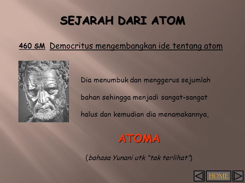 SEJARAH DARI ATOM 460 SM Democritus mengembangkan ide tentang atom Dia menumbuk dan menggerus sejumlah bahan sehingga menjadi sangat-sangat halus dan kemudian dia menamakannya, ATOMA (bahasa Yunani utk tak terlihat )