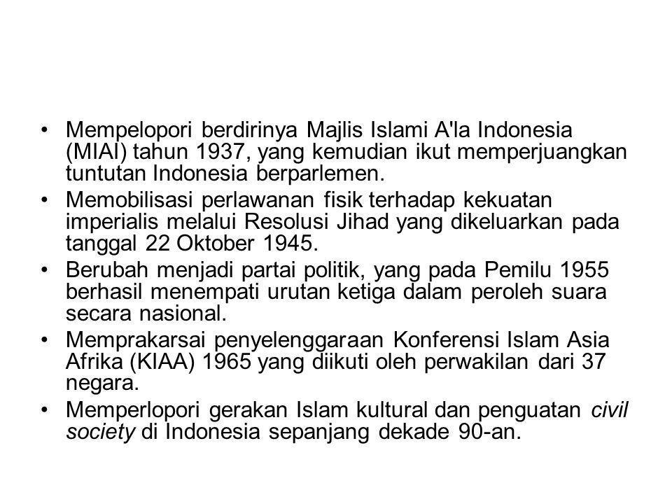 Mempelopori berdirinya Majlis Islami A'la Indonesia (MIAI) tahun 1937, yang kemudian ikut memperjuangkan tuntutan Indonesia berparlemen. Memobilisasi