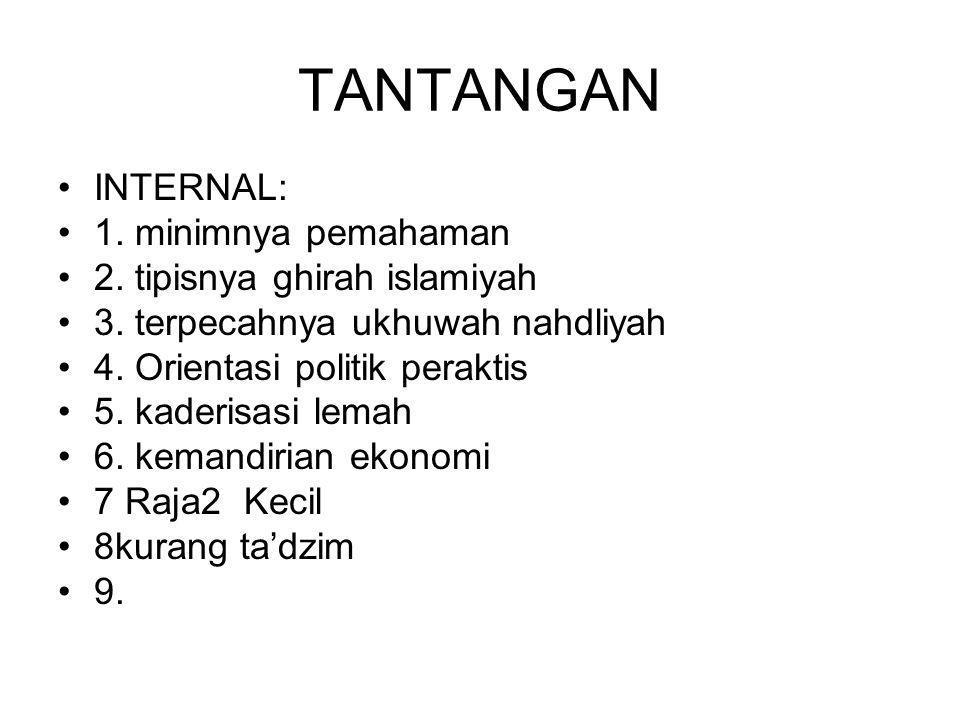 TANTANGAN INTERNAL: 1. minimnya pemahaman 2. tipisnya ghirah islamiyah 3. terpecahnya ukhuwah nahdliyah 4. Orientasi politik peraktis 5. kaderisasi le