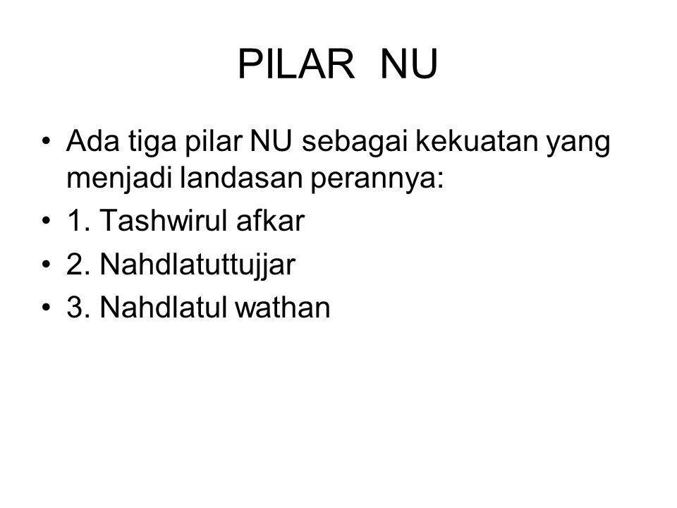 PILAR NU Ada tiga pilar NU sebagai kekuatan yang menjadi landasan perannya: 1.