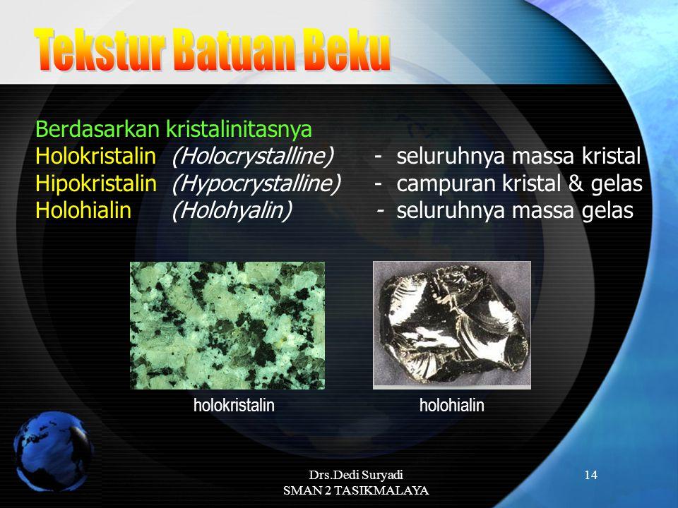 Drs.Dedi Suryadi SMAN 2 TASIKMALAYA 14 Berdasarkan kristalinitasnya Holokristalin (Holocrystalline) - seluruhnya massa kristal Hipokristalin (Hypocrys