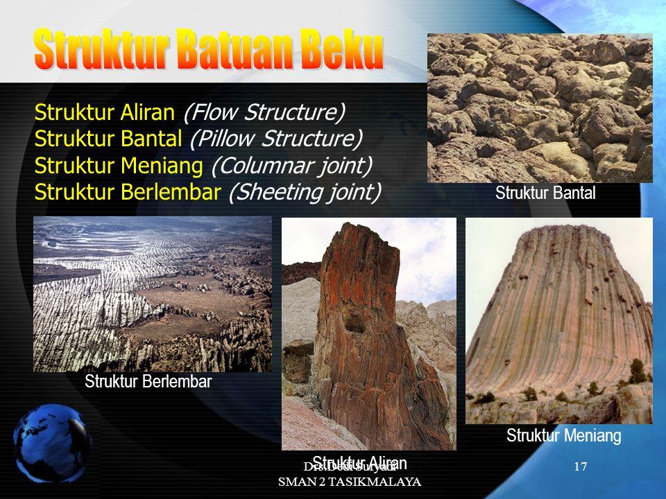Drs.Dedi Suryadi SMAN 2 TASIKMALAYA 17 Struktur Aliran (Flow Structure) Struktur Bantal (Pillow Structure) Struktur Meniang (Columnar joint) Struktur