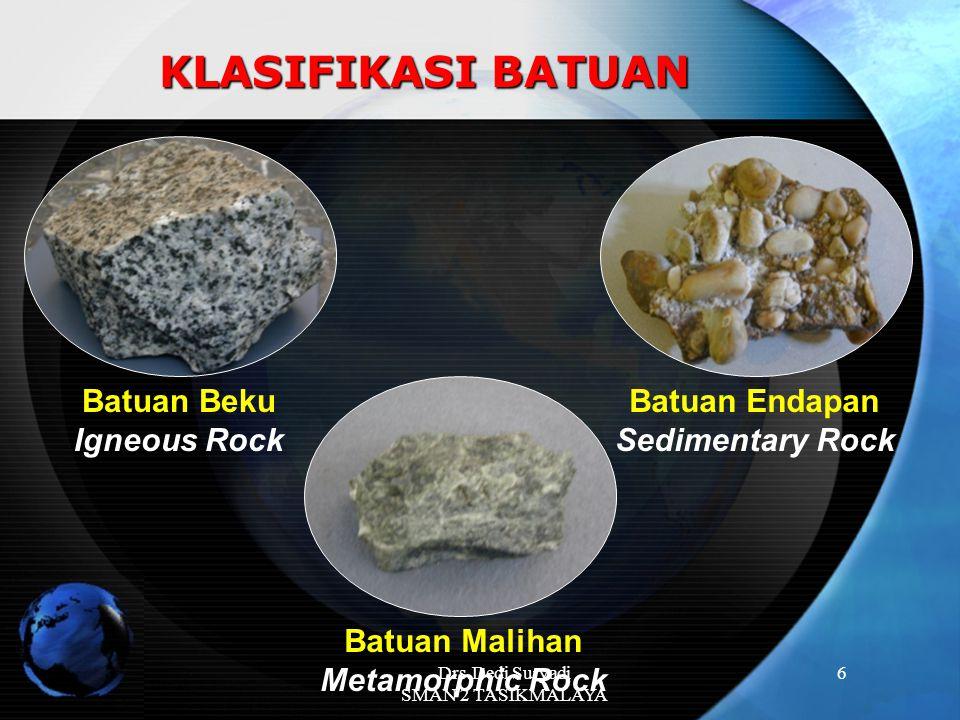 6 KLASIFIKASI BATUAN Batuan Beku Igneous Rock Batuan Endapan Sedimentary Rock Batuan Malihan Metamorphic Rock