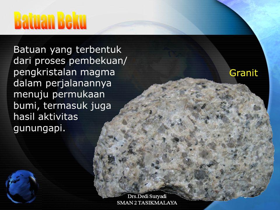 Drs.Dedi Suryadi SMAN 2 TASIKMALAYA 8 Batuan yang terbentuk dari proses pembekuan/ pengkristalan magma dalam perjalanannya menuju permukaan bumi, term