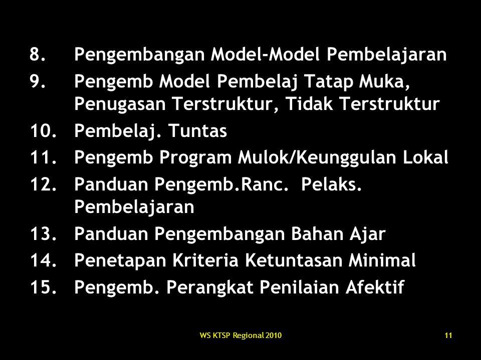 WS KTSP Regional 201011 8.Pengembangan Model-Model Pembelajaran 9.Pengemb Model Pembelaj Tatap Muka, Penugasan Terstruktur, Tidak Terstruktur 10.Pembe