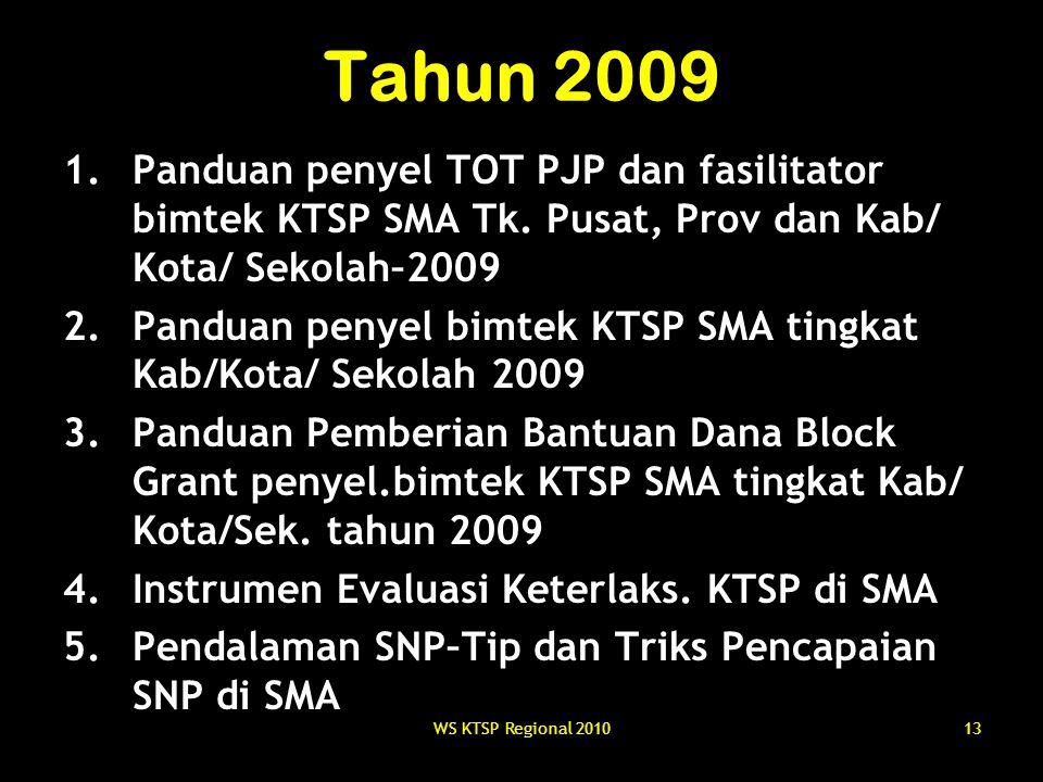 WS KTSP Regional 201013 Tahun 2009 1.Panduan penyel TOT PJP dan fasilitator bimtek KTSP SMA Tk. Pusat, Prov dan Kab/ Kota/ Sekolah–2009 2.Panduan peny