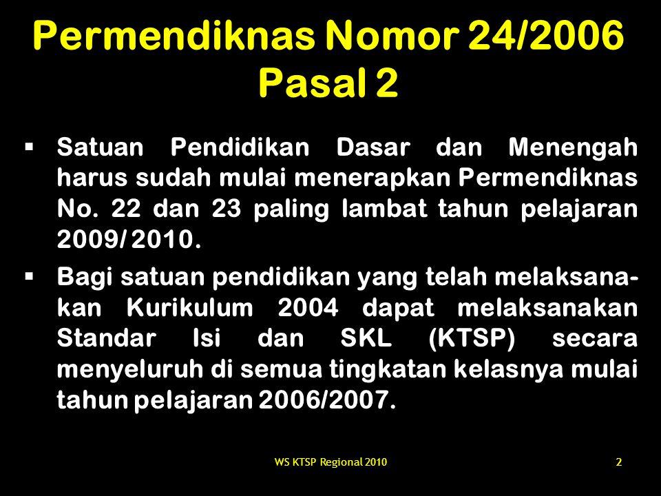 22 Permendiknas Nomor 24/2006 Pasal 2  Satuan Pendidikan Dasar dan Menengah harus sudah mulai menerapkan Permendiknas No. 22 dan 23 paling lambat tah