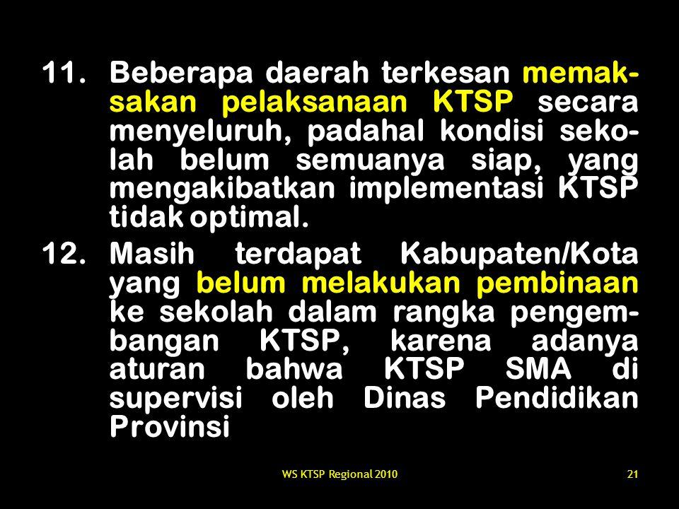 WS KTSP Regional 201021 11.Beberapa daerah terkesan memak- sakan pelaksanaan KTSP secara menyeluruh, padahal kondisi seko- lah belum semuanya siap, ya