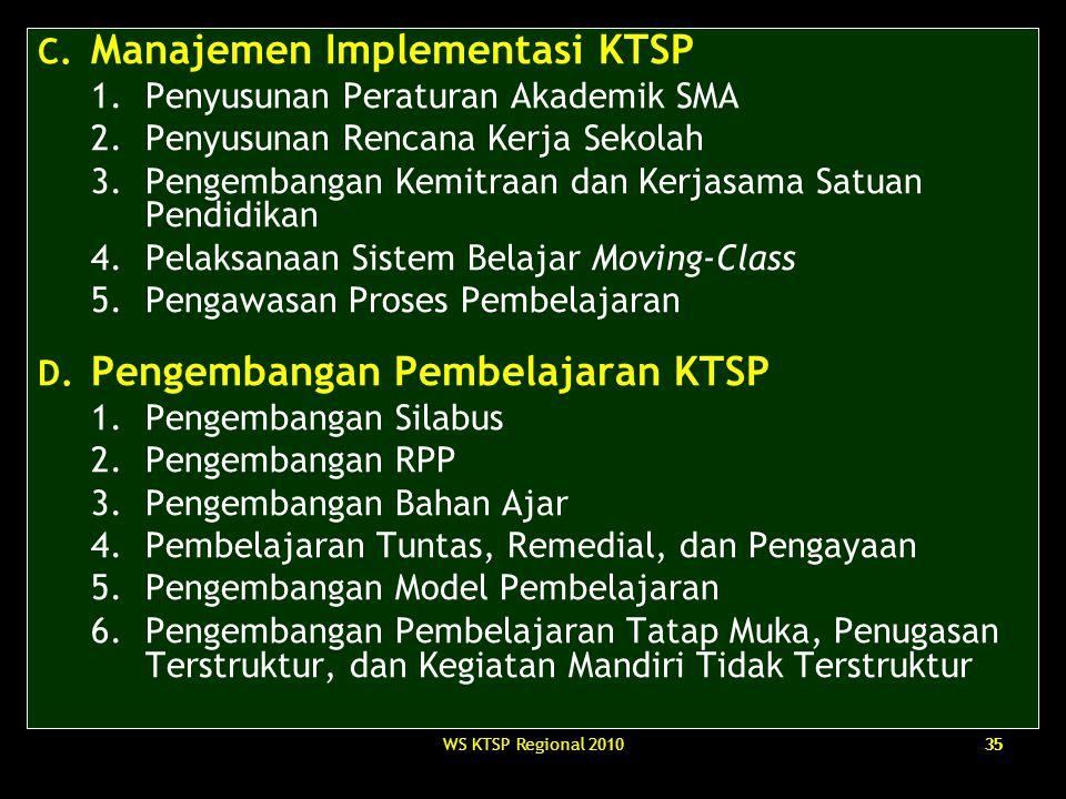 WS KTSP Regional 201035 C. Manajemen Implementasi KTSP 1.Penyusunan Peraturan Akademik SMA 2.Penyusunan Rencana Kerja Sekolah 3.Pengembangan Kemitraan