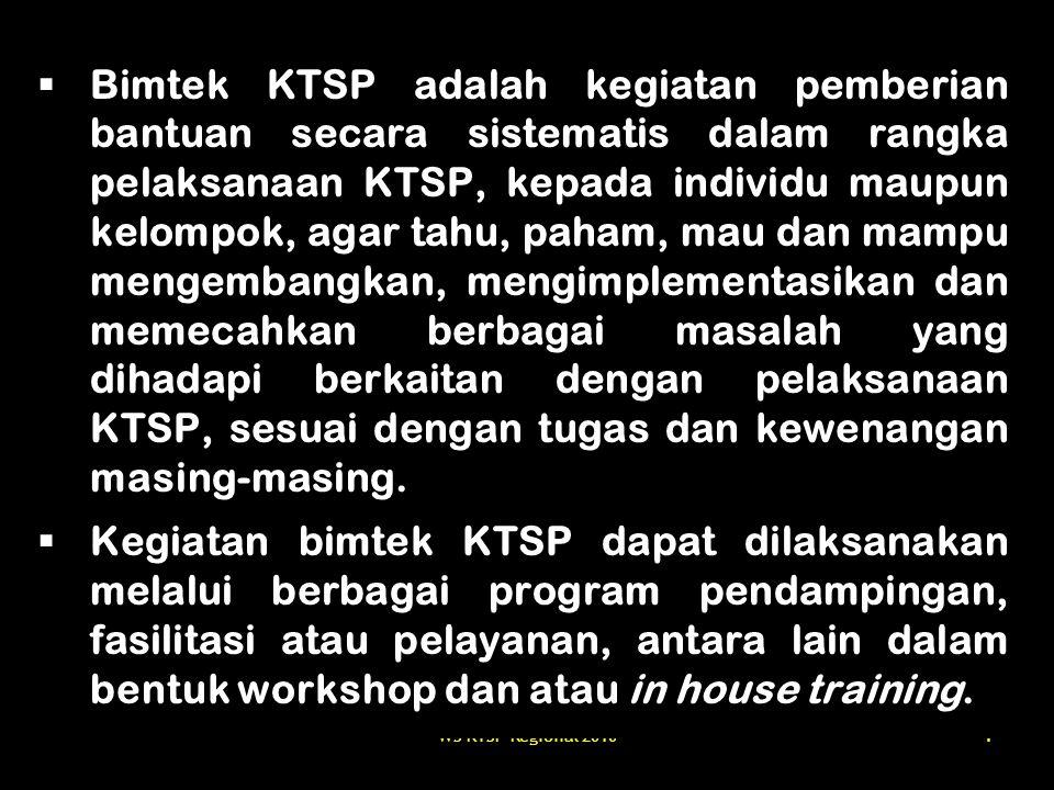 WS KTSP Regional 201055 Tujuan Bimtek KTSP SMA 1.Meningkatkan pemahaman tentang substansi dan makna dari berbagai landasan hukum/peraturan yang berkaitan dengan implementasi KTSP; 2.Meningkatkan kemampuan sekolah (kepala sekolah, guru) dan pembina sekolah khususnya Ka.Si dan Pengawas SMA dalam mengembangkan dan melaksanakan KTSP; 3.Mendorong, memberikan arahan, dan pembinaan upaya-upaya yang harus dilakukan sekolah agar dapat mewujudkan SNP dalam kurun waktu tertentu, termasuk di dalamnya penerapan KTSP; 4.Meningkatkan peranserta dan dukungan (kebijakan, program dan pendanaan) stakeholder pendidikan dalam keseluruhan proses pelaksanaan KTSP, sesuai dengan peran, tugas dan kewenangan masing-masing; 5.Mendapatkan rujukan/model pelaksanaan KTSP di sejumlah SMA.