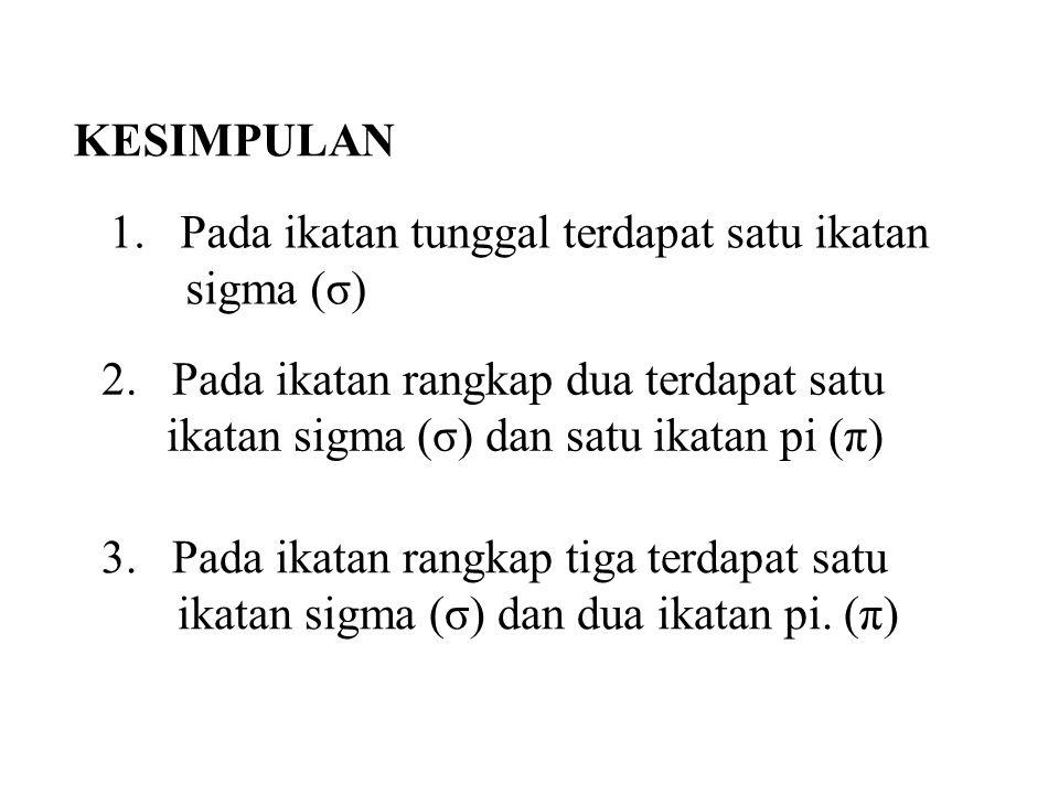 HUBUNGAN HIBRIDISASI DENGAN JUMLAH IKATAN SIGMA (σ) 1.Jika atom C membentu empat ikatan sigma maka tipe hibridisasinya sp 3 2.Jika atom C membentu tiga ikatan sigma maka tipe hibridisasinya sp 2 3.Jika atom C membentu dua ikatan sigma maka tipe hibridisasinya sp sp 3 sp 2 sp cc c pxpx pxpx pypy