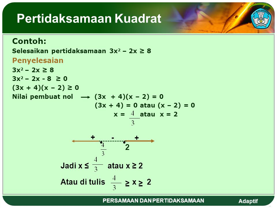 Adaptif PERSAMAAN DAN PERTIDAKSAMAAN Pertidaksamaan kuadrat adalah suatu pertidaksamaan yang mempunyai variabel dengan pangkat tertinggi dua. Langkah-