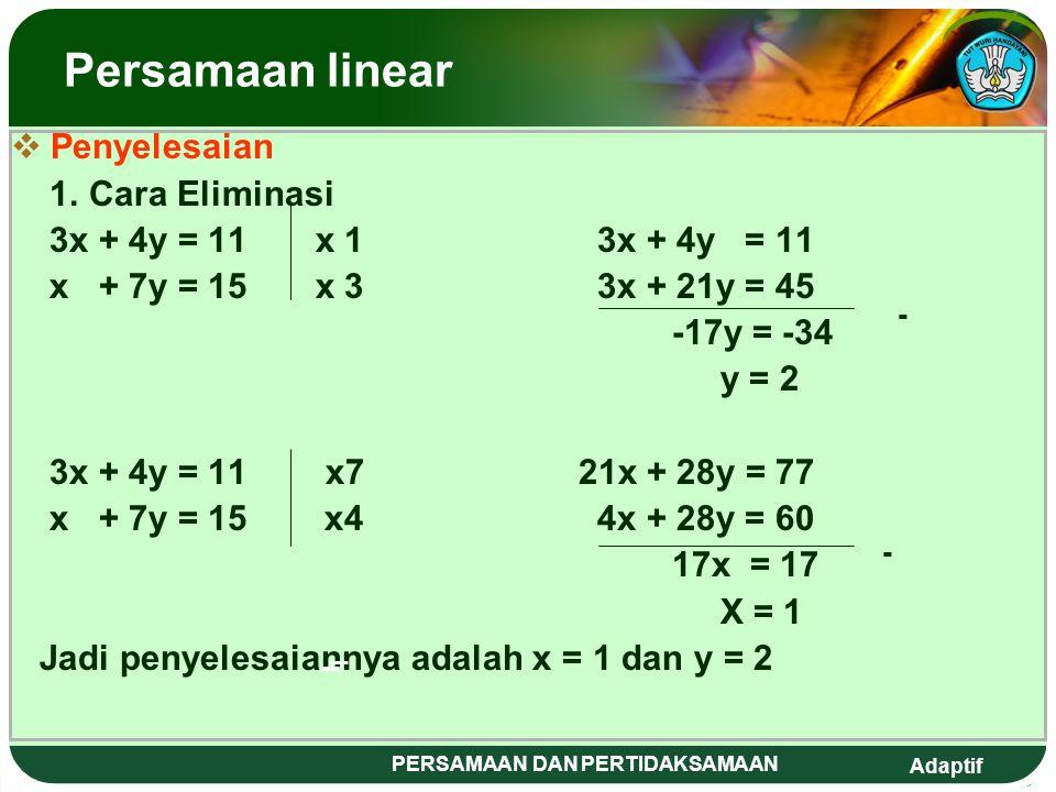 Adaptif PERSAMAAN DAN PERTIDAKSAMAAN M elengkapkan Kuadrat Sempurna Persamaan kuadrat ax² + bx + c = 0, di ubah menjadi bentuk kuadrat sempurna dengan cara sebagai berikut : a.Pastikan koefisien dari x² adalah 1, bila belum bernilai 1 bagilah dengan bilangan sedemikian hingga koefisiennya adalah 1.