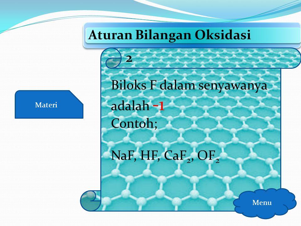 Materi Aturan Bilangan Oksidasi Menu Biloks unsur bebas adalah nol Contoh; Fe, Zn, Mg, Na, Al, Cu, Cl 2, H 2, N 2, P 4, S 8, O 2, F 2 1