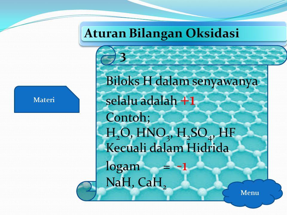 Materi Aturan Bilangan Oksidasi Menu Biloks F dalam senyawanya adalah -1 Contoh; NaF, HF, CaF 2, OF 2 2