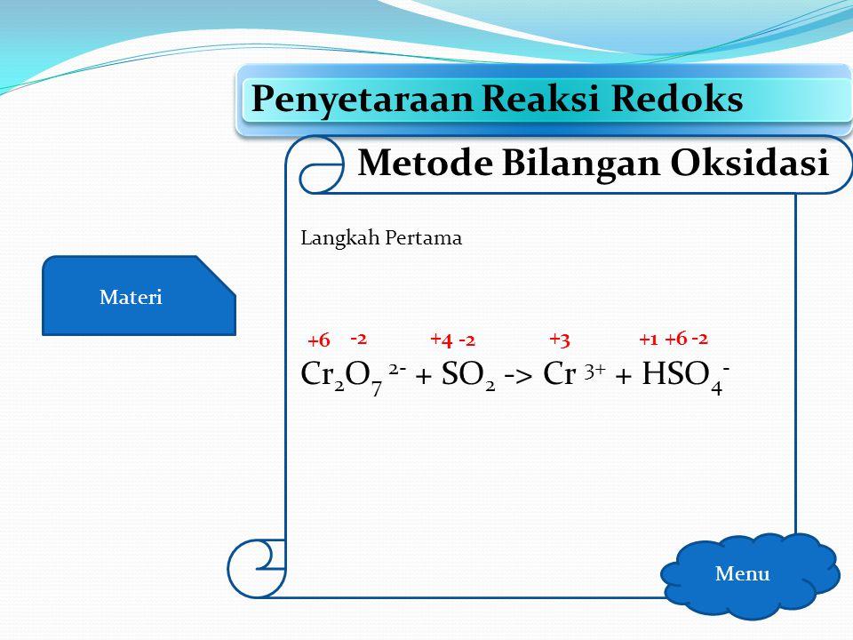 Materi Penyetaraan Reaksi Redoks Menu Metode Bilangan Oksidasi Langkah Pertama Tulis biloks setiap unsur
