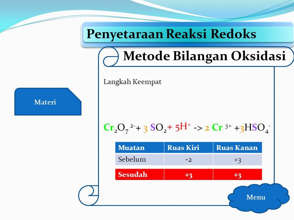 Materi Penyetaraan Reaksi Redoks Menu Metode Bilangan Oksidasi Langkah keempat Setarakan jumlah muatan dengan: Menambahkan H + (kondisi asam) Menambah