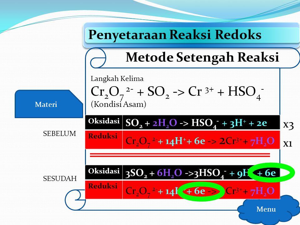 Materi Penyetaraan Reaksi Redoks Menu Metode Setengah Reaksi Langkah Kelima Setarakan jumlah elektron pada kedua reaksi dengan menambahkan koefisien
