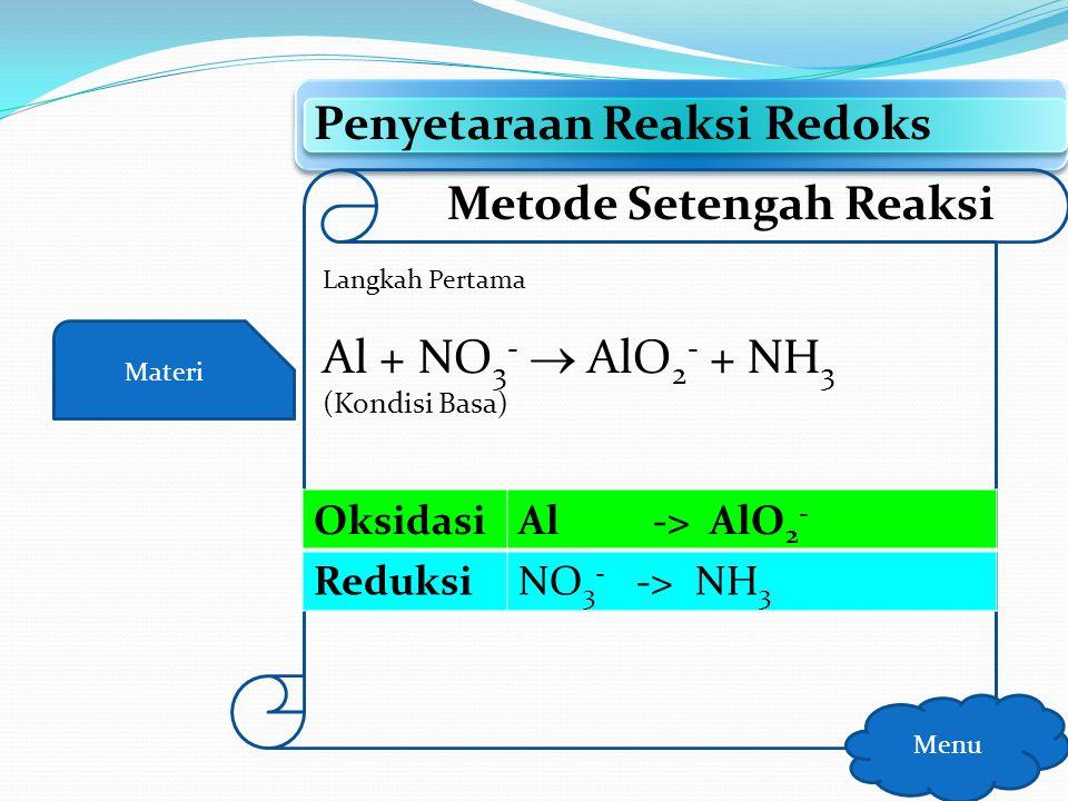 Materi Penyetaraan Reaksi Redoks Menu Metode Setengah Reaksi Langkah Kelima Cr 2 O 7 2- + SO 2 -> Cr 3+ + HSO 4 - (Kondisi Asam) Oksidasi 3SO 2 + 6H 2