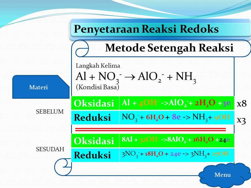 Materi Penyetaraan Reaksi Redoks Menu Metode Setengah Reaksi Langkah Kelima Al + NO 3 -  AlO 2 - + NH 3 (Kondisi Basa) Oksidasi Al + 4OH - ->AlO 2 -