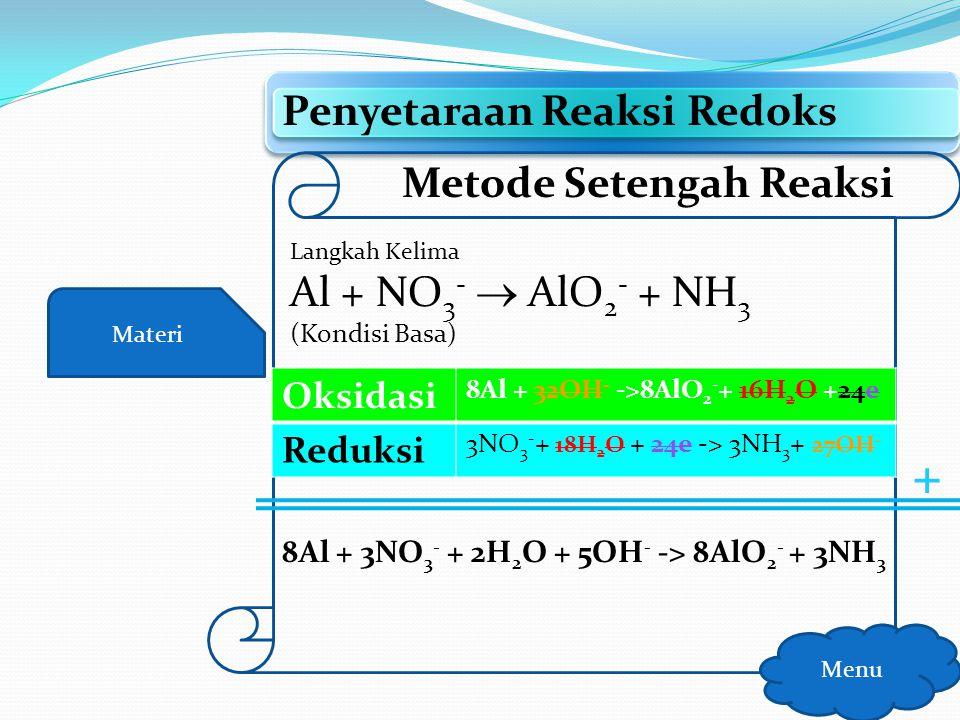 Materi Penyetaraan Reaksi Redoks Menu Metode Setengah Reaksi Langkah Kelima Al + NO 3 -  AlO 2 - + NH 3 (Kondisi Basa) x8 x3 SEBELUM SESUDAH Oksidasi