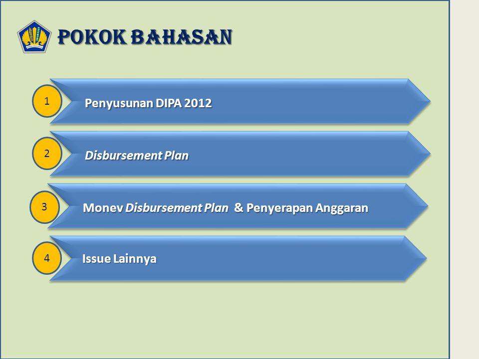 POKOK BAHASAN 2 Disbursement Plan Disbursement Plan 4 Issue Lainnya Issue Lainnya 3 Monev Disbursement Plan & Penyerapan Anggaran Monev Disbursement Plan & Penyerapan Anggaran 1 Penyusunan DIPA 2012 Penyusunan DIPA 2012