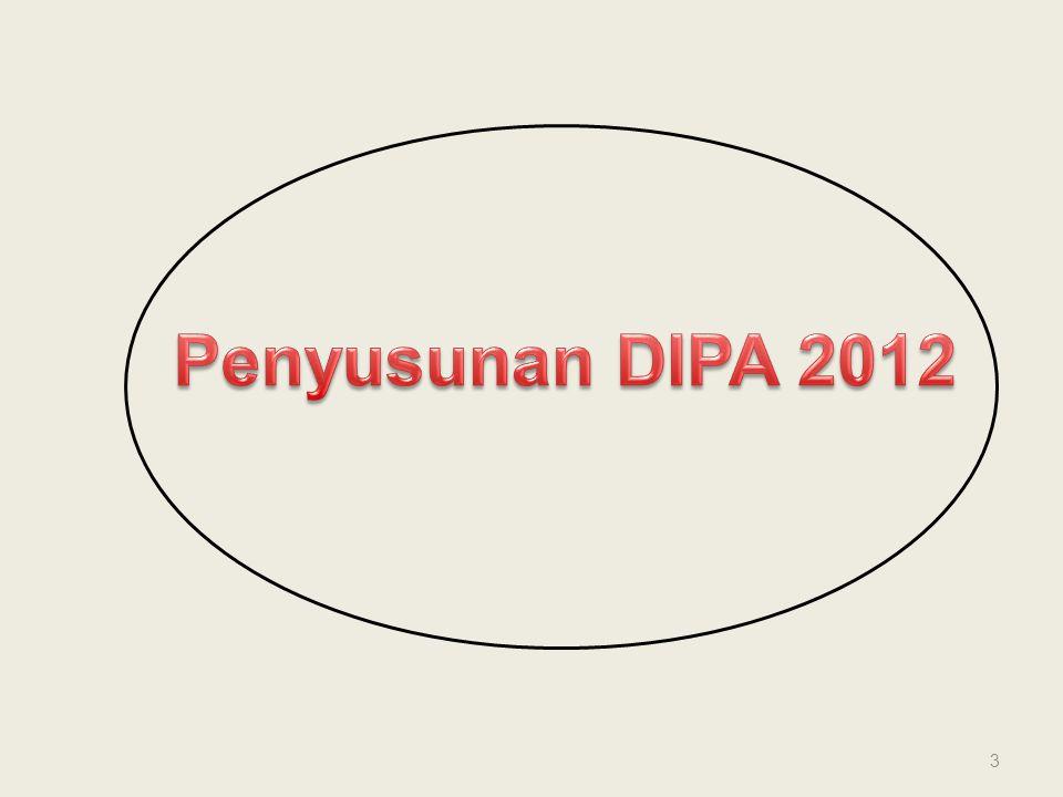 K/L / SATKER DJA DJPBN PUSAT KANWIL 5 UU APBN Penelaahan DIPA + ADK DIPA DIPA DIPA Proses Bisnis Penyusunan DIPA Tahun 2012 RKAKL SP RKAKL Pengesahan Pengesahan DNA (Data SP RKAKL/ Provinsi) SP RKAKL 1 1 2 2 3 3 4a4a 4a4a 5b 4b4b 4b4b 4c4c 4c4c 6a 6b 5a 7a 7b 8a 8b 4