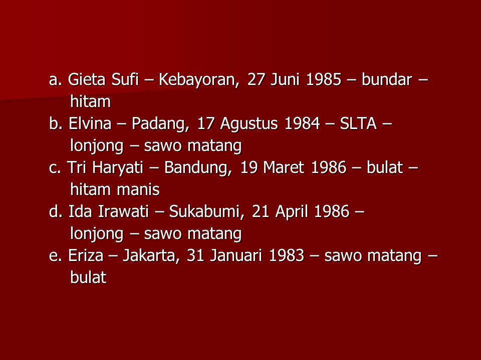 a. Gieta Sufi – Kebayoran, 27 Juni 1985 – bundar – hitam hitam b. Elvina – Padang, 17 Agustus 1984 – SLTA – lonjong – sawo matang lonjong – sawo matan