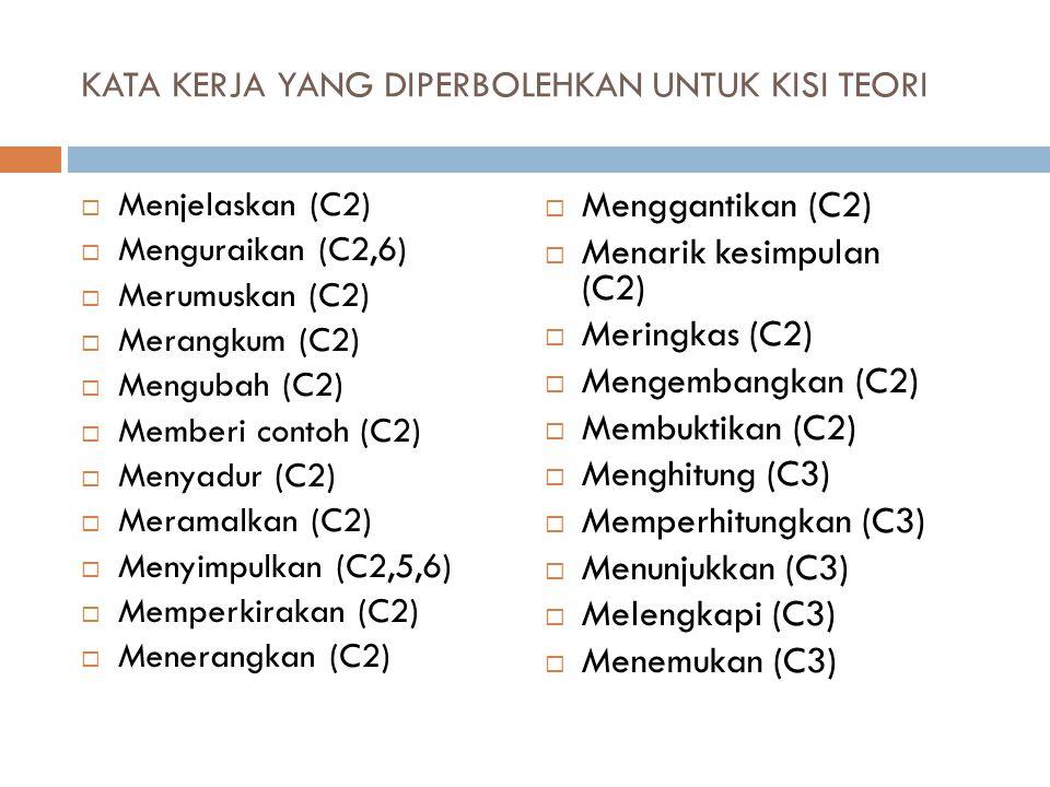 KATA KERJA YANG DIPERBOLEHKAN UNTUK KISI TEORI (2)  Memisahkan (C4)  Menyisihkan (C4)  Menghubungkan (C4,5)  Memilih (C4)  Membandingkan (C4,6)  Mempertentangkan (C4)  Membagi (C4)  Membuat digram/skema (C4)  Menunjukan hubungan (C4)  Mengategorikan (C5)  Mengkombinasikan (C5)  Mendesain (C5)  Mengatur (C5)  Menyusun kembali (C5)  Merangkaikan (C5)  Merancangkan (C5)  Mengevaluasi (C6)  Memberi argumentasi (C6)  Menafsirkan (C6)  Memilih antara (C6)  Membedakan (C6)  Melukiskan (C6)