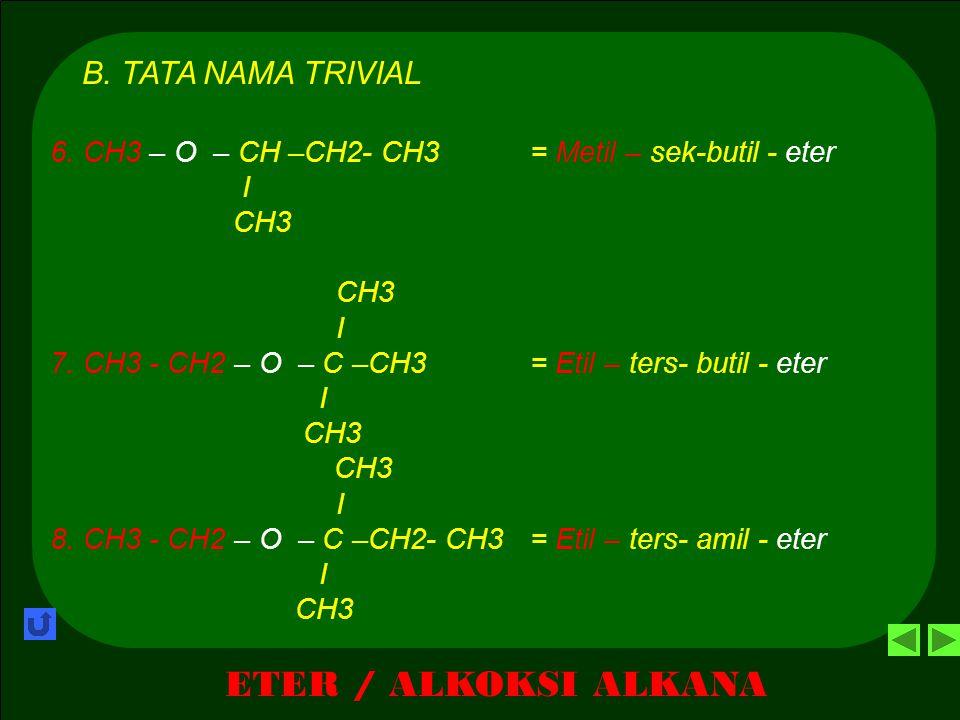 ETER / ALKOKSI ALKANA B. TATA NAMA TRIVIAL 1.CH3 – O – CH3= Dimetil - eter 2.CH3 – O – CH2 – CH3 = Metil – etil - eter 3.CH3 – O – CH2 – CH2 – CH3= Me