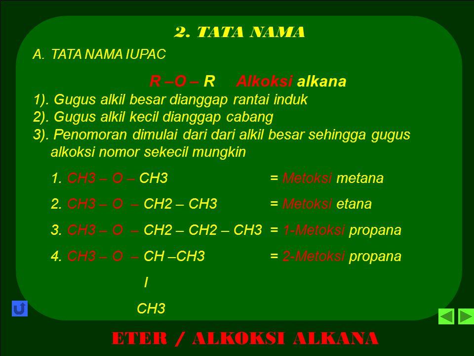 ETER / ALKOKSI ALKANA 1. PENGERTIAN Eter merupakan senyawa organik turunan dari senyawa hidrokarbon yang mempunyai gugus fungsi oksi sehingga mempunya