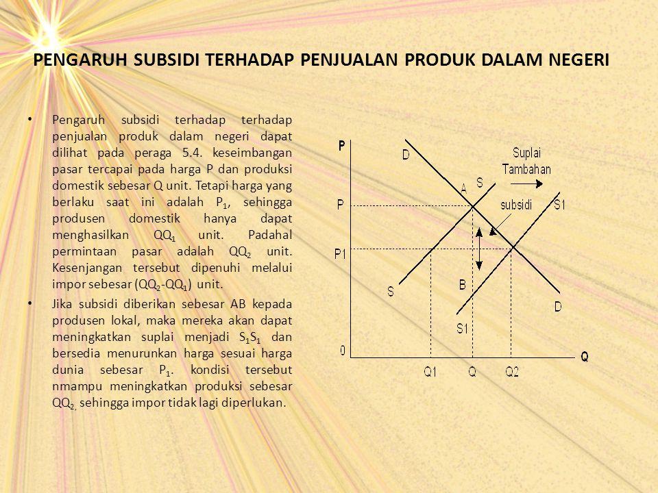 PENGARUH SUBSIDI TERHADAP PENJUALAN PRODUK DALAM NEGERI Pengaruh subsidi terhadap terhadap penjualan produk dalam negeri dapat dilihat pada peraga 5.4