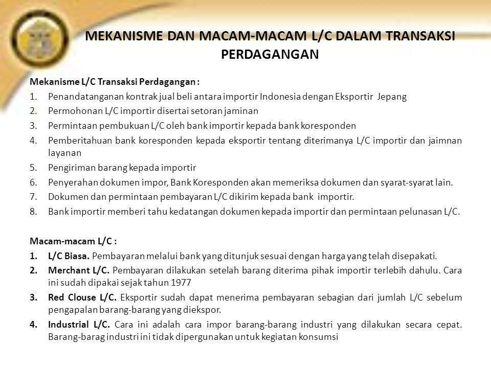 MEKANISME DAN MACAM-MACAM L/C DALAM TRANSAKSI PERDAGANGAN Mekanisme L/C Transaksi Perdagangan : 1.Penandatanganan kontrak jual beli antara importir In