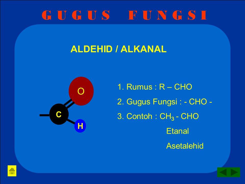 G U G U S F U N G S I ETER / ALKOKSI ALKANA 1.Rumus : R – O - R 2.Gugus Fungsi : - O - 3.Contoh: CH 3 -O-CH 3 Dimetil eter Metoksi metana O
