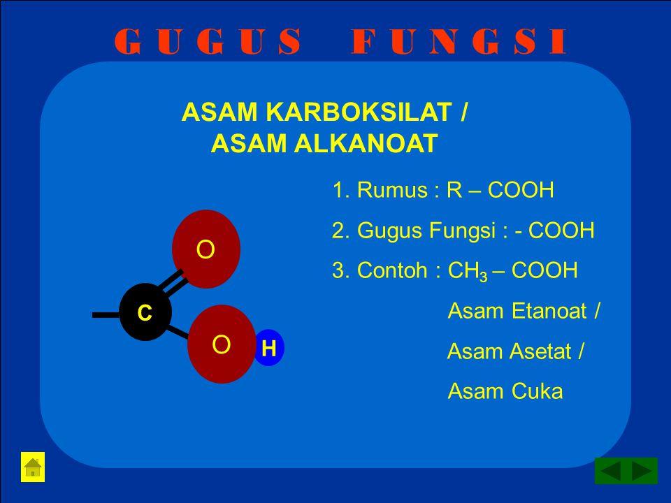 G U G U S F U N G S I KETON / ALKANON 1.Rumus : R – CO - R 2.Gugus Fungsi : - CO - 3.Contoh : CH 3 – CO – CH 3 Propanon O C