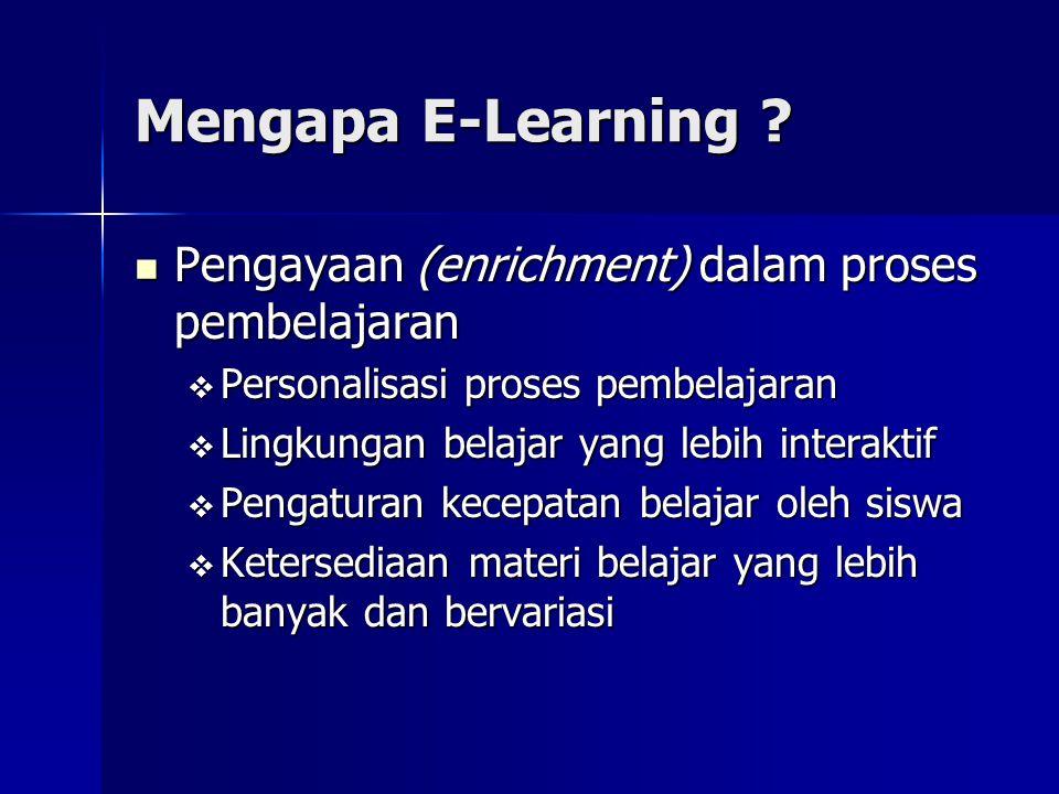 Mengapa E-Learning ? Pengayaan (enrichment) dalam proses pembelajaran Pengayaan (enrichment) dalam proses pembelajaran  Personalisasi proses pembelaj