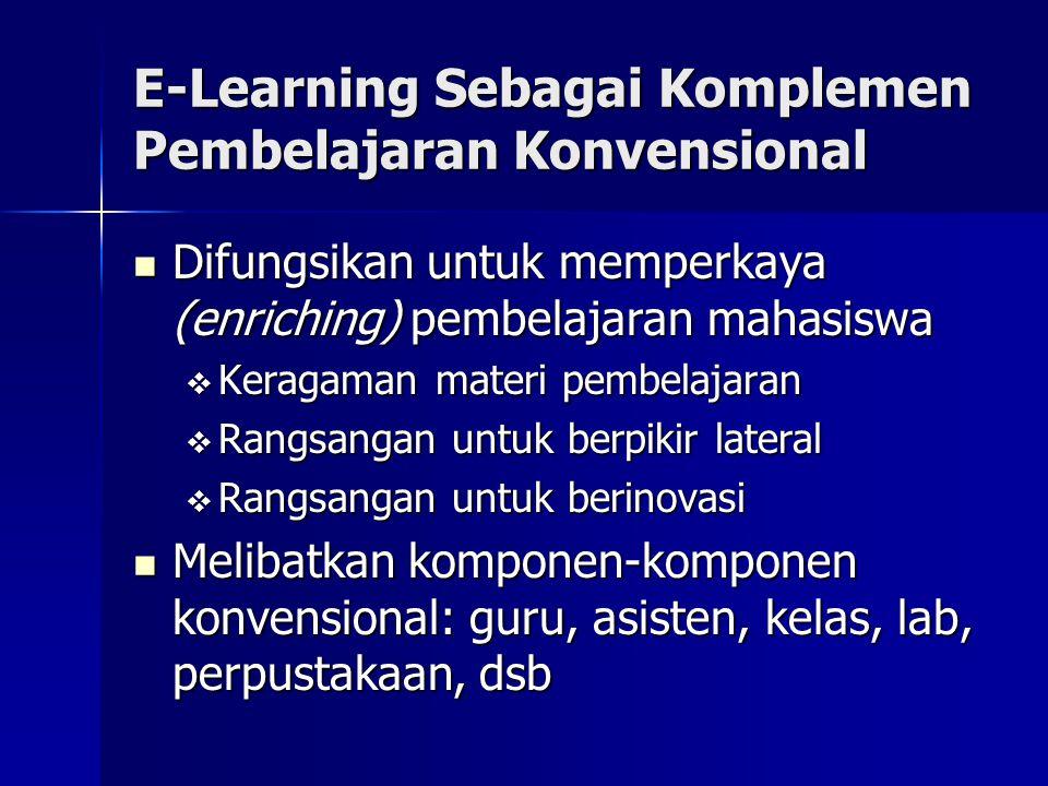 E-Learning Sebagai Komplemen Pembelajaran Konvensional Difungsikan untuk memperkaya (enriching) pembelajaran mahasiswa Difungsikan untuk memperkaya (e