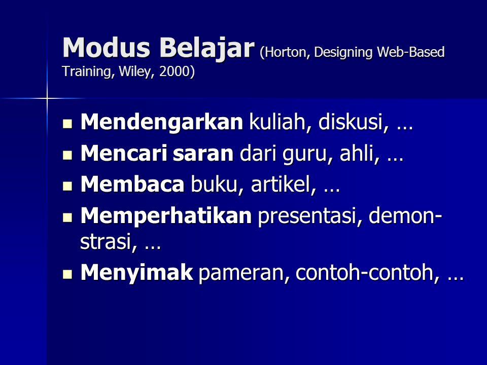 Modus Belajar (Horton, Designing Web-Based Training, Wiley, 2000) Mendengarkan kuliah, diskusi, … Mendengarkan kuliah, diskusi, … Mencari saran dari g