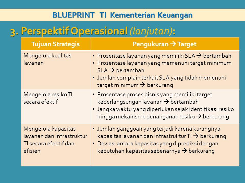 BLUEPRINT TI Kementerian Keuangan 3. Perspektif Operasional : 3. Perspektif Operasional (lanjutan): Tujuan StrategisPengukuran  Target Mengelola kual